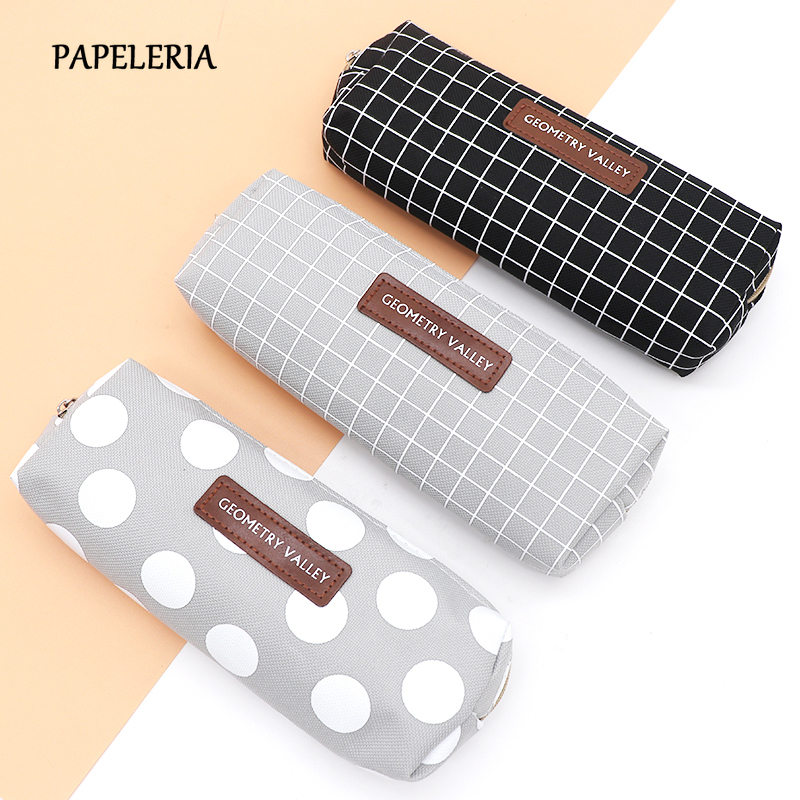 Concise Solid Black Pencil Case For Girls Boys Student School Pencil Bag Canvas Pencil Box Pencilcase School Supplies Stationery