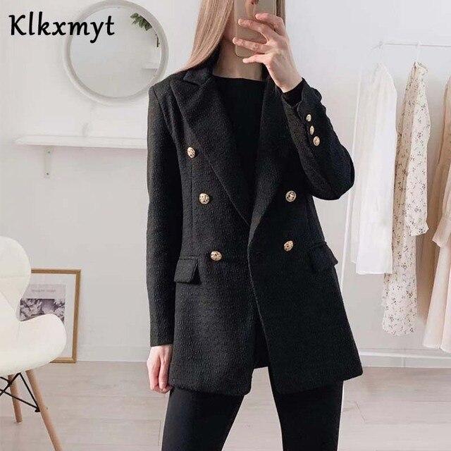 Klkxmyt Za Blazer Women 2020 Fashion Metal Double Breasted Woollen Blazers Coat Vintage Long Sleeve Female Outerwear Chic Tops 2