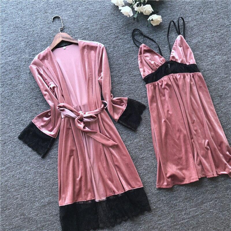 2019 autumn winter velvet robe gown set sleepwear pajamas lace sexy lingerie mini dress luxury bathrobe sleep set home clothes 29