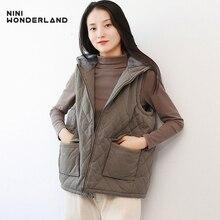 NINI WONDERLAND зимний утепленный бархатный жилет для женщин, хлопковое Свободное пальто с капюшоном, Женская Повседневная Верхняя одежда без рукавов на молнии