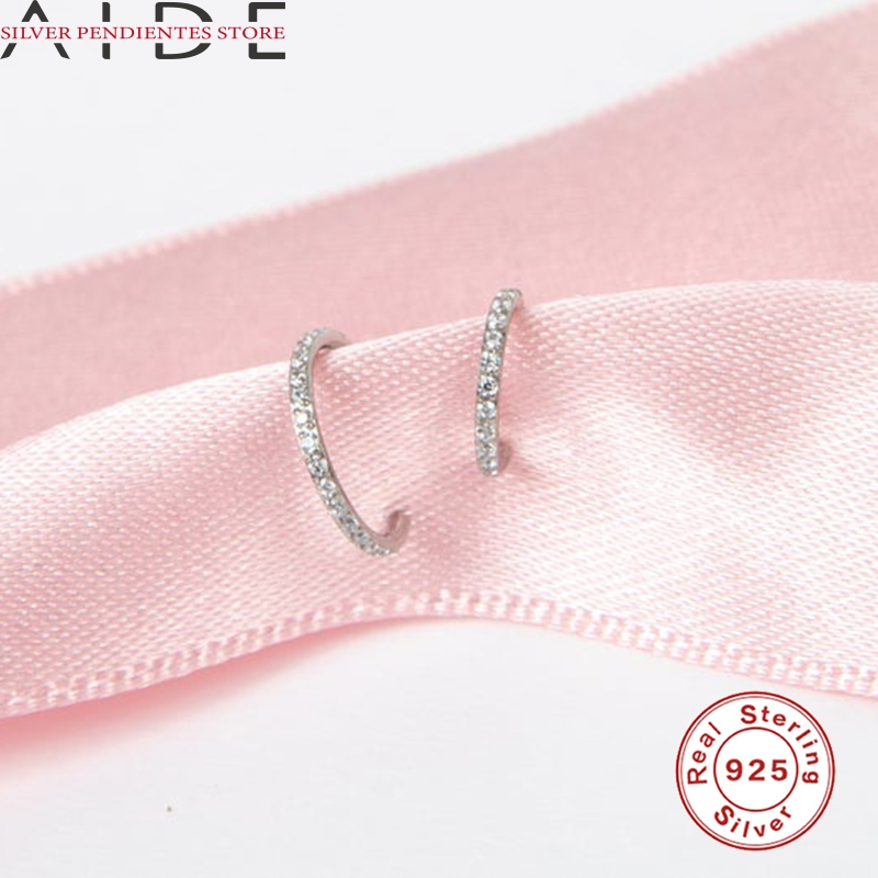AIDE 6mm/8mm CZ Crystal Piercing Ear Tragus Cartilage Jewelry 925 Silver Nose Hoop Nose Ring 2020 Body Jewelry Wholesale-3