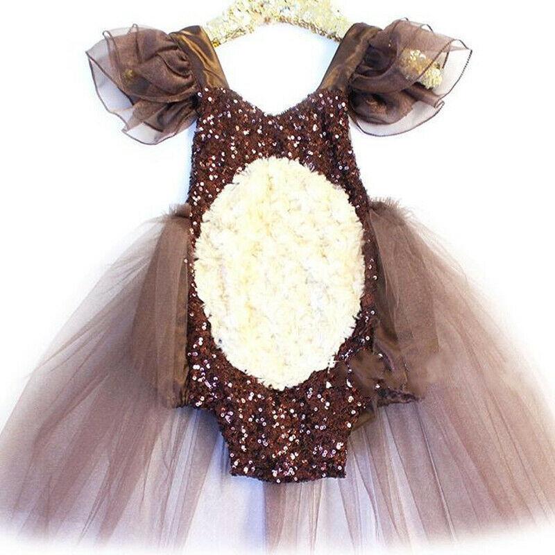 2019 Newborn Baby Girls Sequins Backless Romper Tutu Dress  Halloween Party Costume