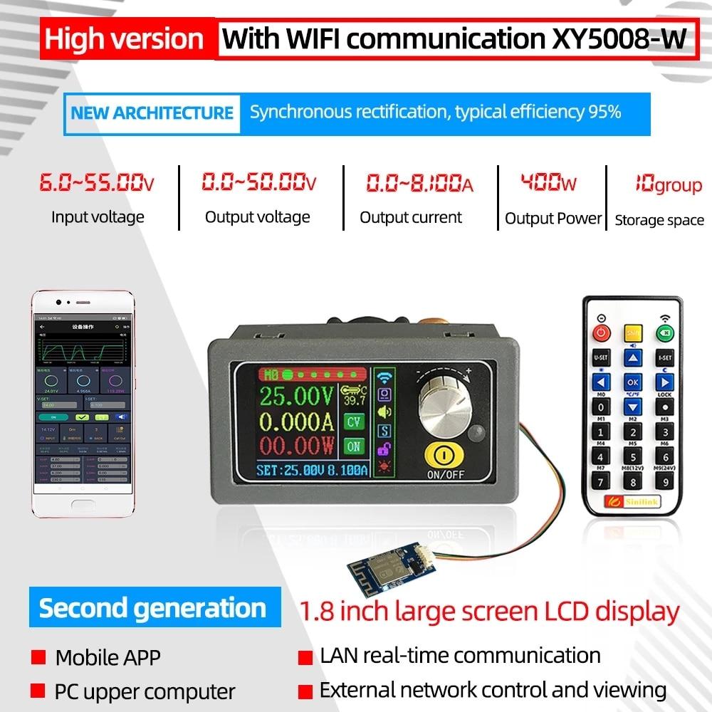 Xy5008 dc conversor de fanfarrão cc cv 0-50v 8a 400w módulo de potência ajustável regulado laboratório fonte de alimentação variável wiff app