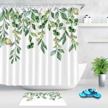 Весенняя белая занавеска для душа с зелеными листьями набор