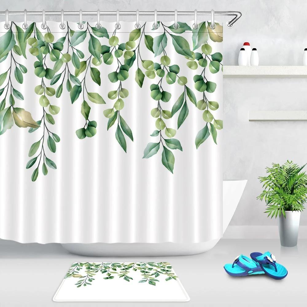 spring green plant leaves white shower curtain set waterproof polyester fabric bath curtains for bathroom bathtub non slip mat