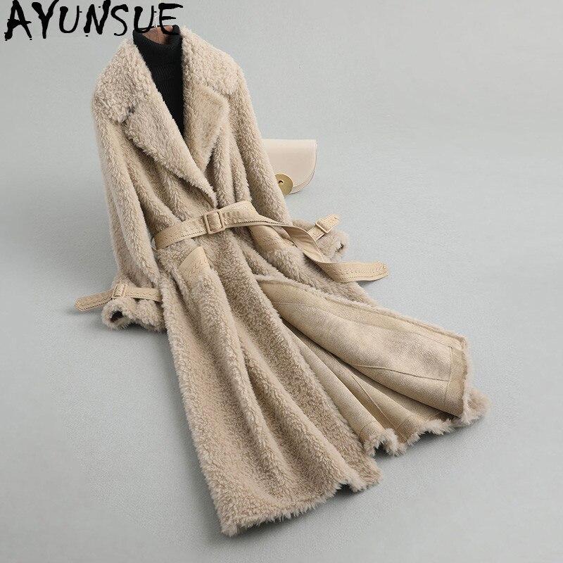 AYUNSUE Women's Fur Coat Sheep Shearling Fur Coats Winter Jacket Women 100% Wool Coat With Leather Belt Korean Long Jackets MY