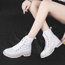 Fashion Martin Boots Canvas Casual Ankle Boots Round Toe Lace Up High Top Autumn Sneakers Square Heel Non-Slip Botas Mujer Shoes цена