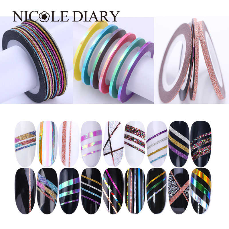 Matte Glitter Nail Striping Tape Set 2 Mm Line Multi Warna Alat Styling Kuku Seni Transfer Stiker Kuku Seni Stiker kit
