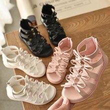 Gladiator Sandals Girls Shoe Flat-Heel Fashion Children Cut-Out Bowknot