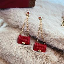 Creative design bag style tassel earrings fashion jewelry temperament trend unique gift statement earrings for women cheap DINGABIYU Aluminium TRENDY Drop Earrings