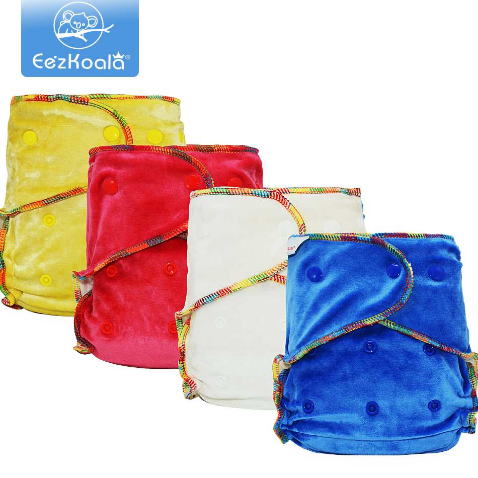 EezKoala Bamboo Velour Fitted  Cloth Diaper Eco-Friendly Reusable Heavy Wetter AI2 Baby AIO Diaper Washable