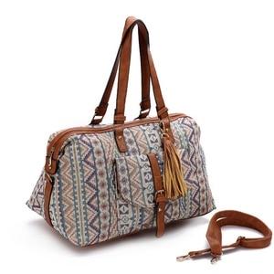 Image 4 - Sac de voyage Jacquard pour femmes, sac de voyage en toile haut de gamme, décontracté, sac fourre tout, cubes, bonne qualité, nouvelle collection