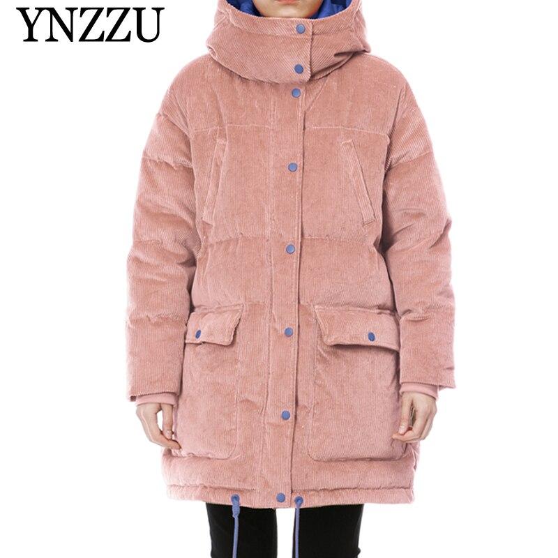 Pink Hooded Corduroy   Down   jacket 2019 Winter Long sleeve Female   Down     coat   90% White duck   down   Thick Warm Outerwear YNZZU 9O011