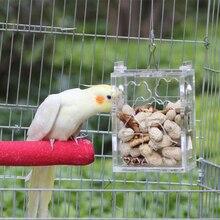 Смешная прозрачная акриловая Птица Попугай подвесной кормушка обучающая игрушка для попугаев попугай Какаду