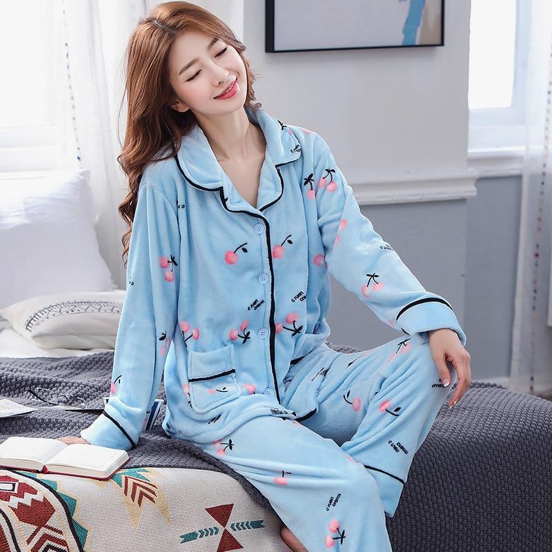 Pajama Sets Women Turn-down Collar High Quality Long Sleeve Womens Winter Pajamas Comfortable Lovely Korean Style Printed Chic 34