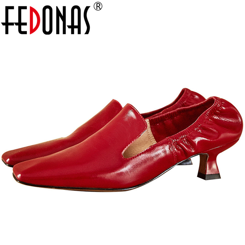FEDONAS Fashion Women Cow Genuine Leather Party Prom Point Toe Elegant Sweet Square And Strange Heels New 2020 Shoes Brand Woman