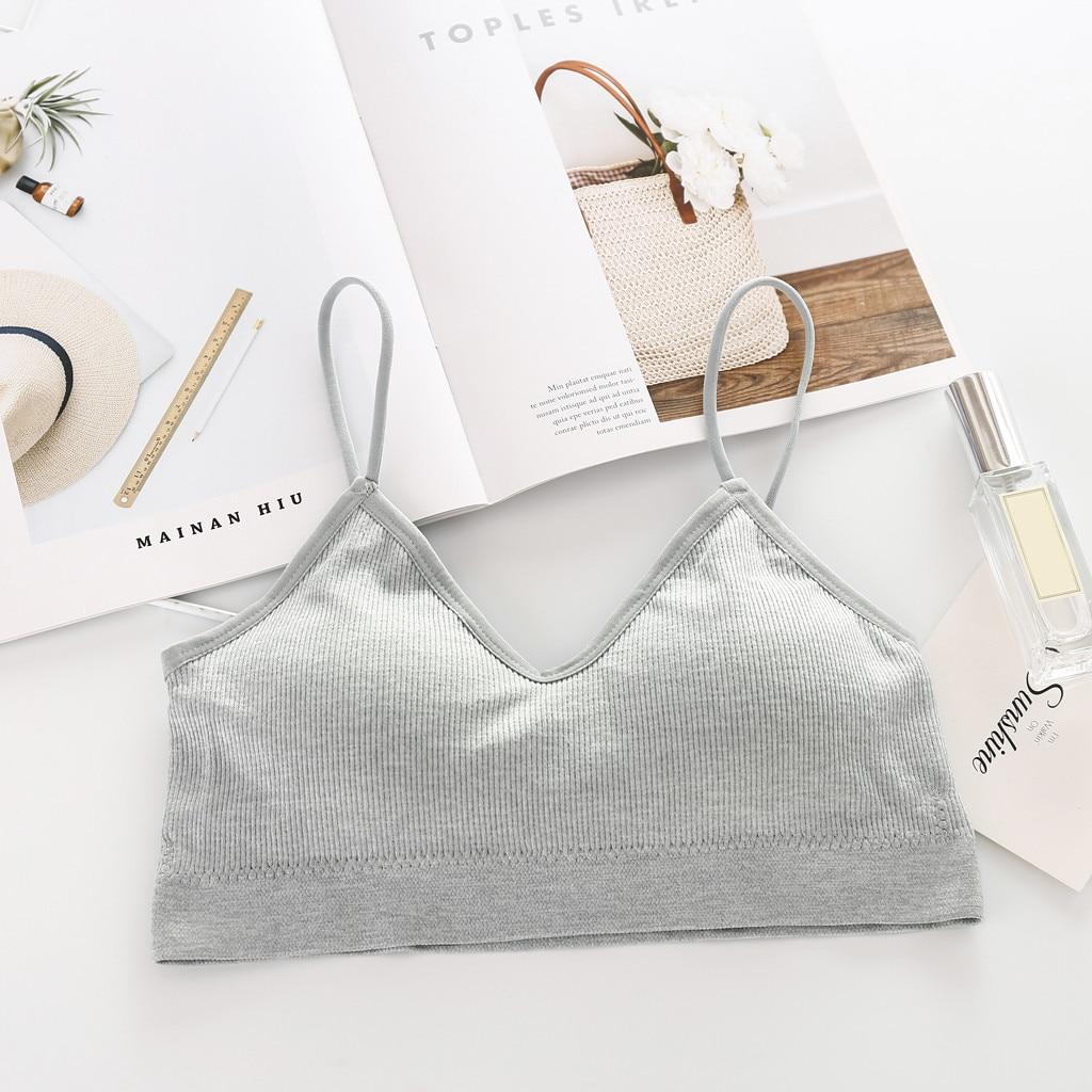 New Style Women's Intimates Female V-neck Solid Colorful Soft Bras Sexy Racerback Vest Short Tanks Comfortable Underwear Bra
