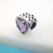 цена Radiant Heart Charm Purple Sparkling CZ Authentic 925 Sterling Silver Fit Original Pandora Necklace Bangle DIY Jewelry Gift онлайн в 2017 году