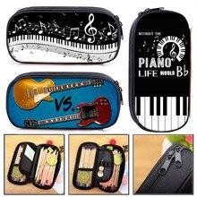 Elegent Music Note Piano / Guitar Cosmetic Case Pen Holder Women Makeup Bag Kids Pencil Box Girl Stationary Bags School Supplies
