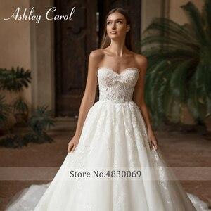 Image 3 - Ashley Carol A lijn Trouwjurk 2020 Vestido De Noiva Sexy Kralen Sweetheart Mouwloze Bruid Lace Up Strand Bruidsjurken
