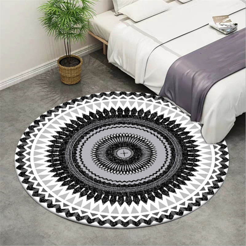 Rugs And Carpets For Home Living Room Black And White Geometric Ethnic Style Pattern Round Carpet Rugs For Children Rooms