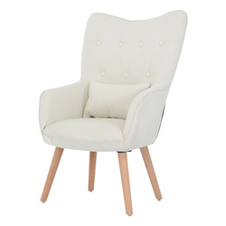 Mid Century Modern Style Armchair Sofa Chair Legs Wooden Linen Upholstery Living Room Furniture Bedroom Arm chair Accent Chair