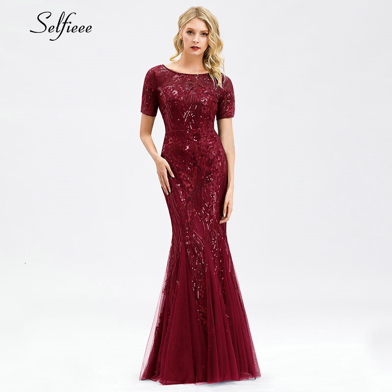 Elegant Bodycon Women Dress Sequined Mermaid O-Neck Short Sleeve Tulle Ladies Sexy Maxi Dress For Party Vestidos De Fiesta 2020