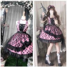 Vintage falbala wysokiej talii pałac słodka księżniczka lolita sukienka na ramiączkach drukowanie sukienka w stylu wiktoriańskim kawaii dziewczyna gothic lolita cos loli tanie tanio NoEnName_Null WOMEN Bez rękawów Kostiumy Poliester Lolita Ubiera