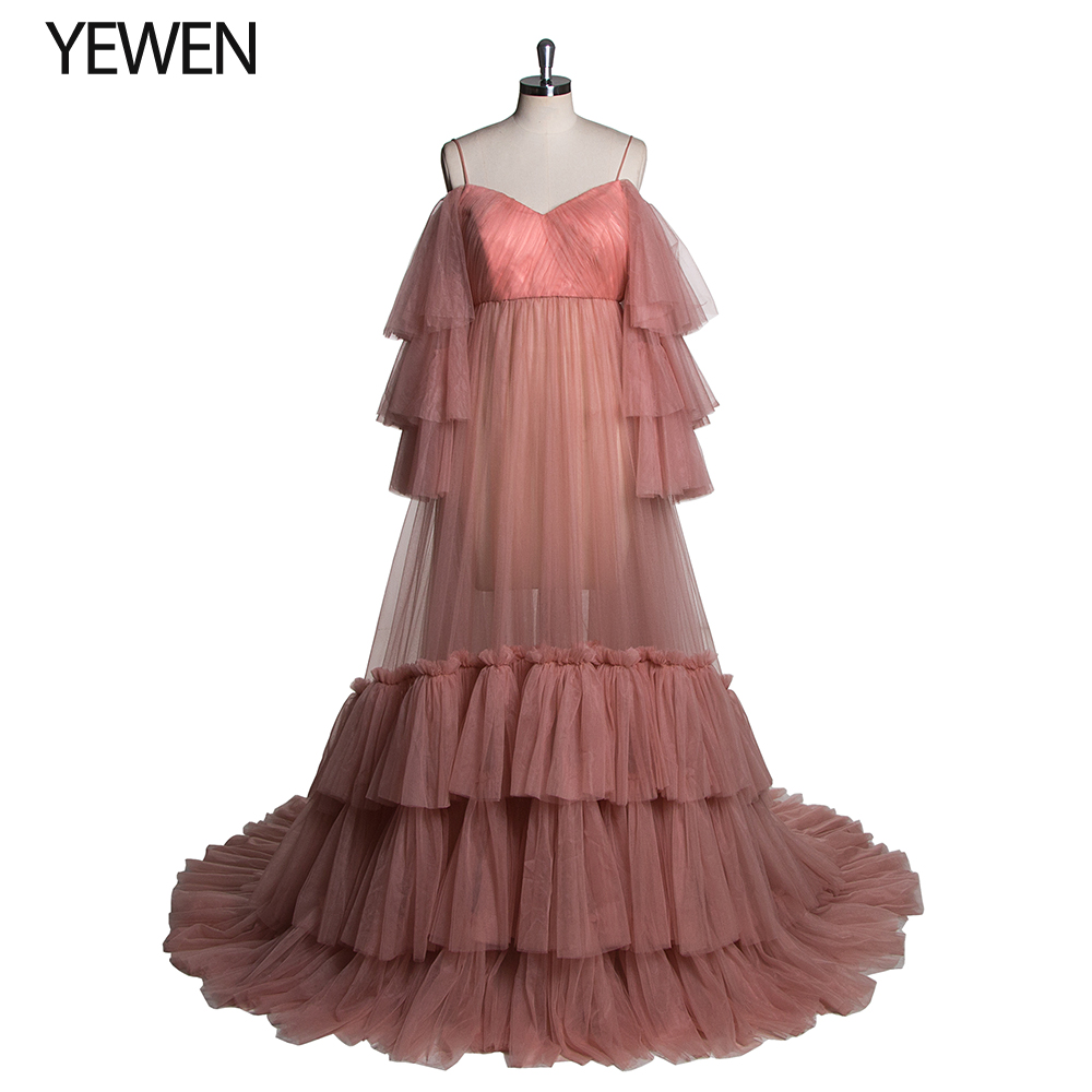 Sexy Deep Pink Photograghy Wedding Dress Plus Size 2020 New Arrival Flowers Long Sleeves Boho Beach Color Bridal Gown