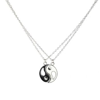 Pendant Necklace Gifts Tai Chi Bagua Necklace 2 Pcs/ Set Couple Girlfriends Detachable Pendant Necklace Jewelry Alloy Plating image