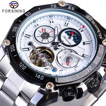 Forsining White Men Tourbillon Mechanical Watch Automatic Date Moonphase Steel Outdoor Sport Business For Male Reloj Hombre Gift все цены