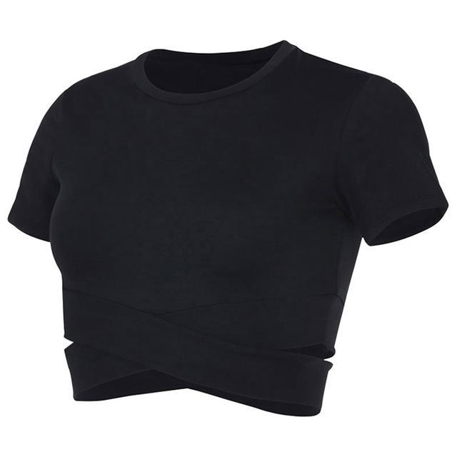 Sexy Sports Top Women Fitness Crop Top Slim Style Yoga Shirts Solid Running Shirt Sport Tops Sportswear Gym Clothes Shirt