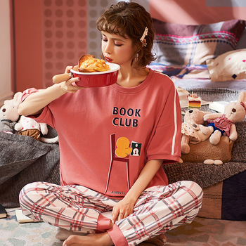 JULY'S SONG Colorful Women's Pajamas Sets 2020 Summer Short Sleeve Cute Homewear Cartoon Printed Cotton Sleepwear Female Pyjamas - discount item  48% OFF Women's Sleep & Lounge