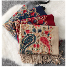 Luksusowy zimowy szalik sjaal, haft paisley szalik chustka, pashmina szal kaszmirowy z indii, peleryna femme, echarpe foulard femme