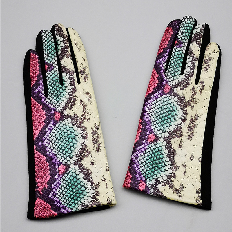 Female Winter Warm Leopard Suede Leather Touch Screen Gloves  Women Sexy Zebra Pattern Cashmere Thicken Driving Gloves H94