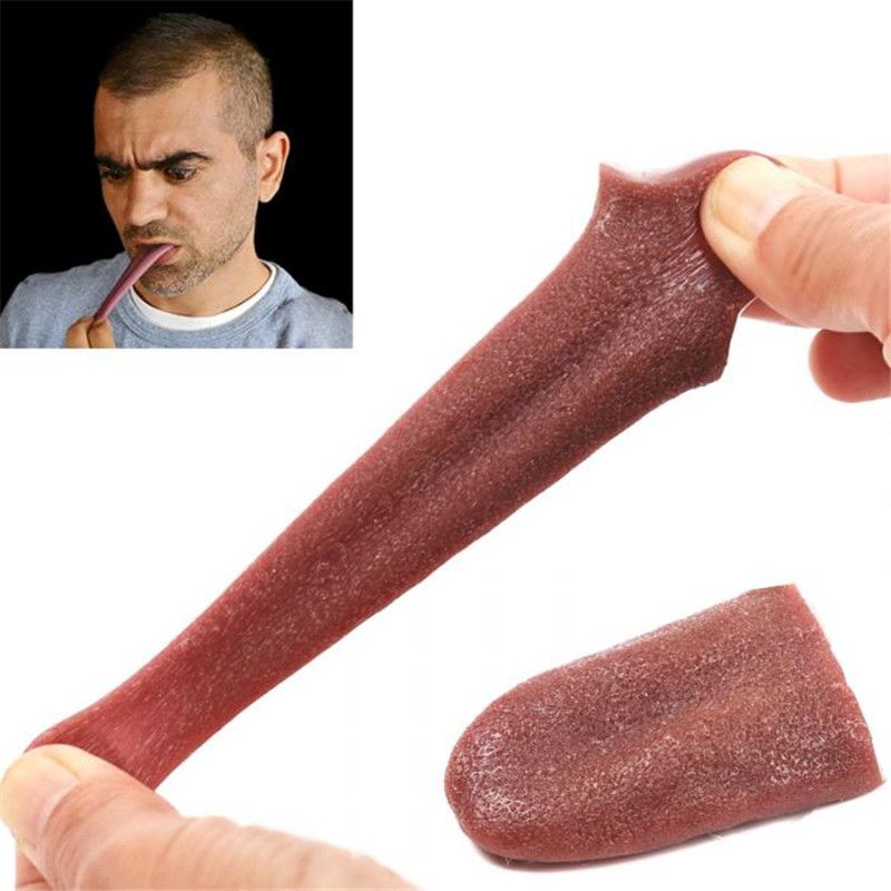 Huilong Fake Tongue Elongated Tongue Magic Props Mischievous Toy Realistic Fake Tongue Joke Magic Halloween Horror Props
