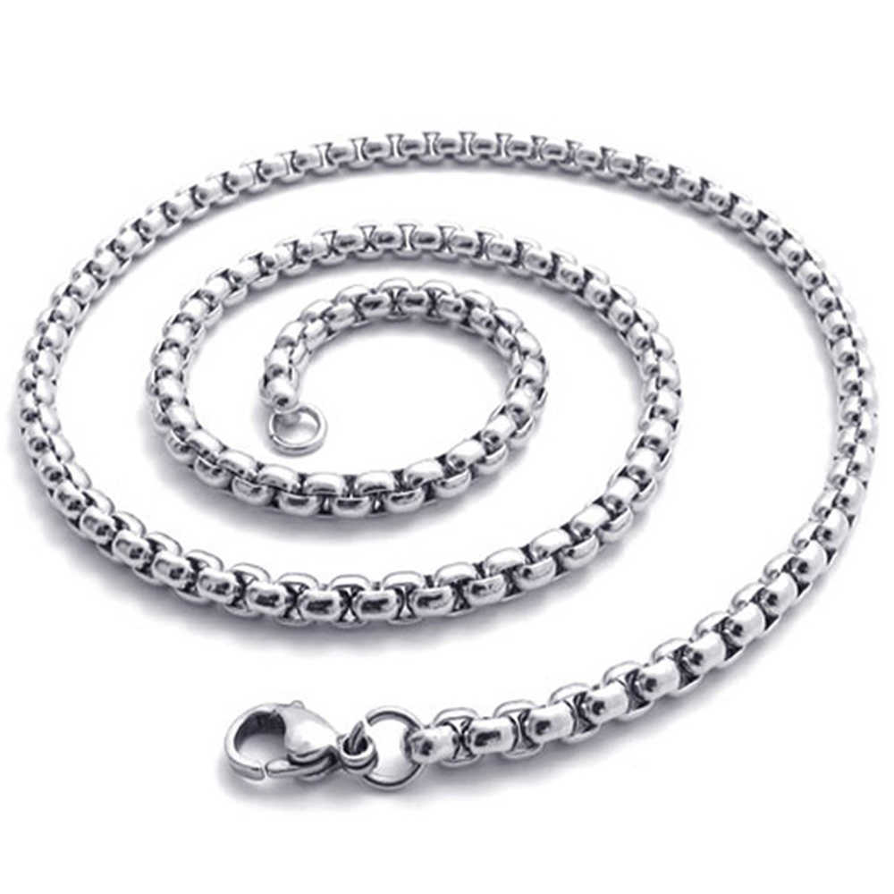 Fashion Stainless Steel Interlocking Hip Hop Punk Box Chain Man Necklace Female Jewelry Neclase Women