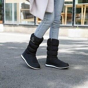 Image 5 - MORAZORA Plus rozmiar 36 41New 2020 śnieg buty damskie zip rhinstone kliny do połowy łydki dół buty zimowe moda ciepłe futrzane buty kobieta