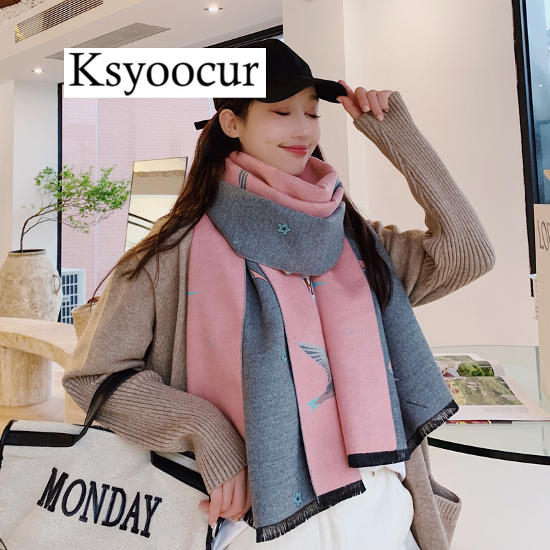 Size 190*65cm, 2020 New Autumn/Winter Long Section Cashmere Fashion Scarf Women Warm Shawls And Scarves Brand Ksyoocur E24