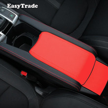 Car Interior Central Armrest Panel Microfiber Leather Cover Trim For Honda Civic 10th Accessories Styling