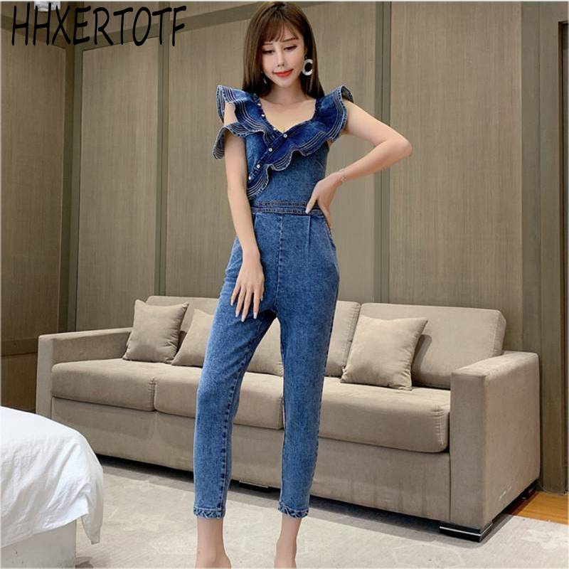 2020  Summer  Sleeveless Jean Jumpsuits  Back Zipper Ruffle Jumpsuits Sexy Backless Denim Jeans Jumpsuit