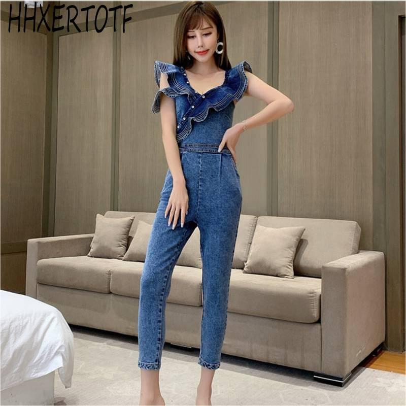 2020  Summer  Sleeveless Jean Jumpsuits  Back Zipper Ruffle Jumpsuits Sexy Backless Denim Jeans Jumpsuit