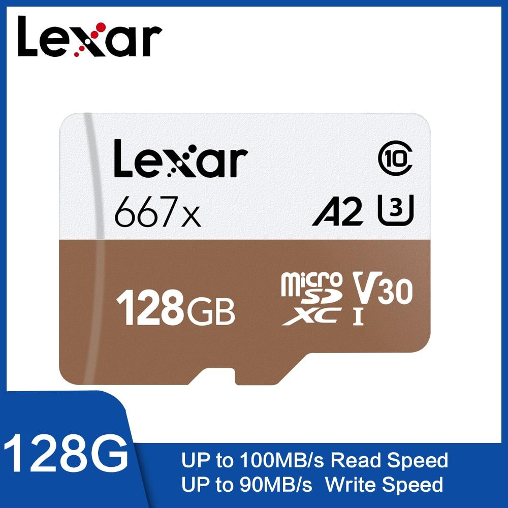 Lexar Tarjeta Original 667x Micro SDXC UHS-I 128 GB Con Adaptador 64 GB 256GB A2 U3 V30 Clase 10 1080 P HD 4 K 3D De Vídeo