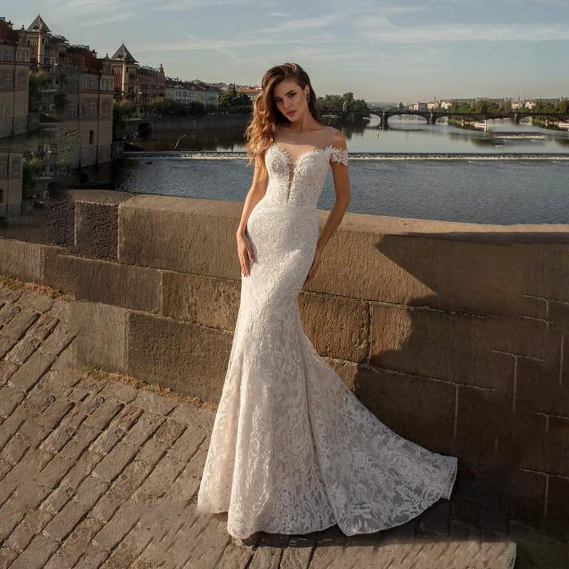 Sexy Lace Mermaid Wedding Dresses 2020 Boho Lace Applique Off Shoulder Bohemian Wedding Dress Bridal Gowns Vestido De Novia