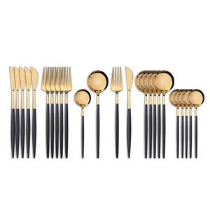 Fork-Knife Tableware-Set Cutleri Gold-Cutlery-Spoon Western Stainless-Steel Black 24pcs