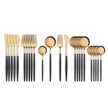 Cubiertos de color negro y dorado para la mesa, artículos de vajilla de acero inoxidable que contiene cuchara, tenedor, cubiertos occidentales de 18/10 de 24uds