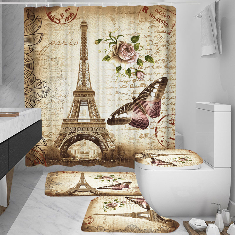 Paris Tower 3D Printed Bathroom Curtain Set Made with Flannel Fabric For Bathroom Use