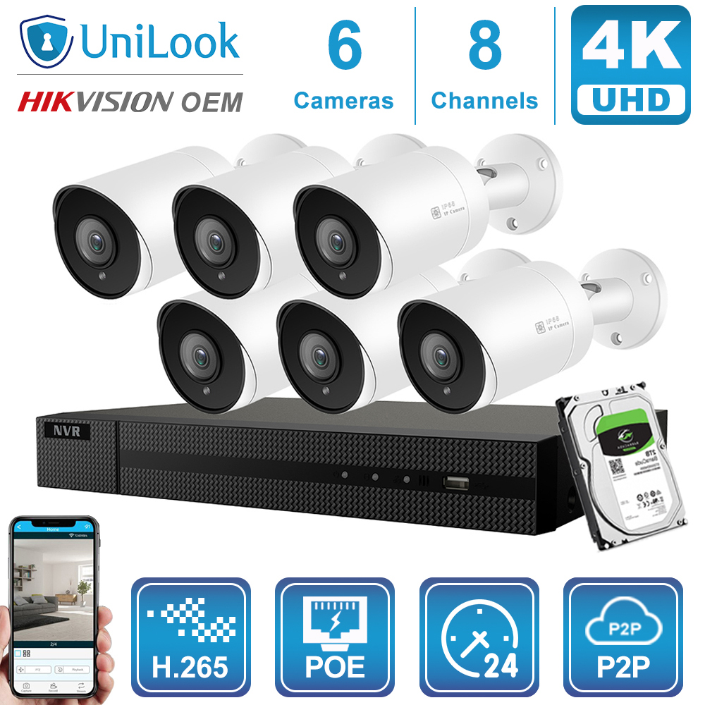 Hikvision OEM 4K 8CH NVR HD POE Network Video System 8MP H.265 NVR With 4/6/8PCS 8MP Weatherproof IP Camera With 1TB/2T/4TB HDD