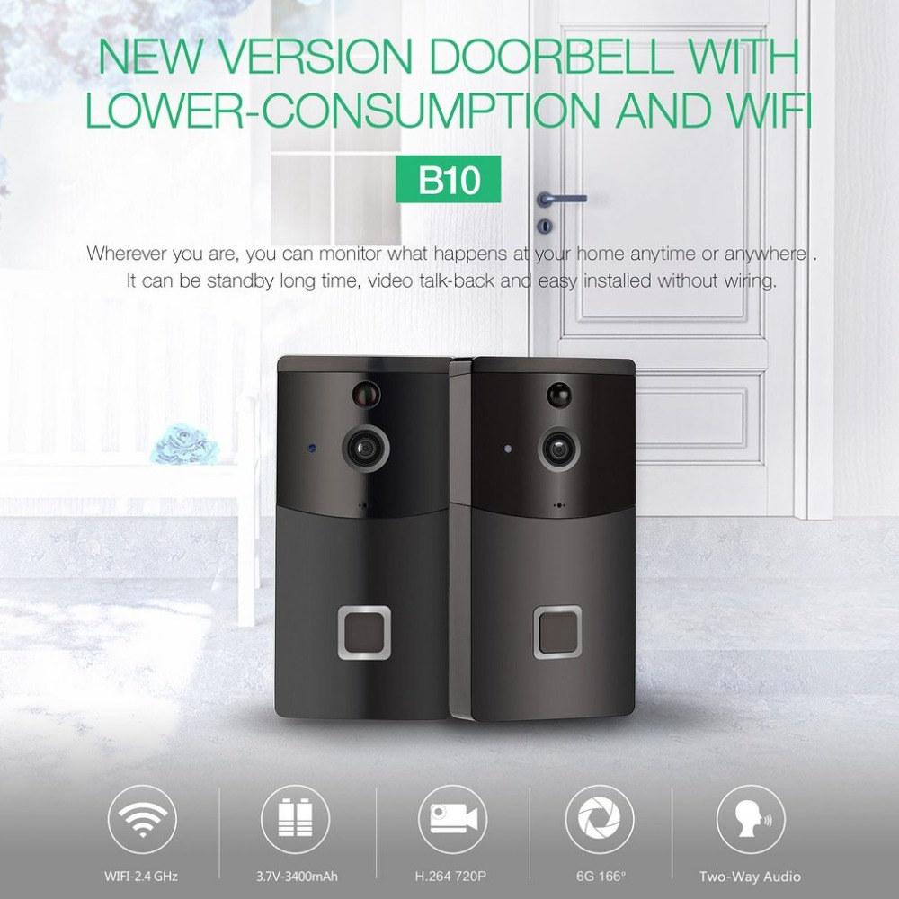2.4GHz WiFi Video Doorbell HD 720P Camera Smart Speaker Night Vison Motion Detetion Wake-up For IOS/Android Viewing