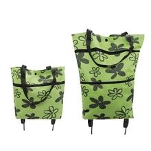 Portable Shopping Cart with Wheels Folding Resuable Large Capacity Storage Shopping Bag Market Organizer Holder Carrier